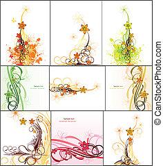 avbild, abstrakt, sätta, vektor, flowers.