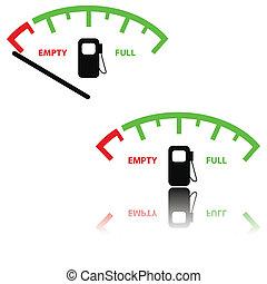 avbild, av, a, gas mätare, illustration
