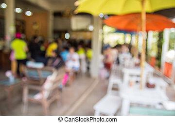 avbild, av, abstrakt, suddig, kaffeaffär, bakgrund