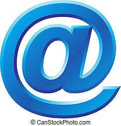 avbild, av, internet, symbol, @