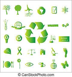 avbild, av, olika, eco-friendly, grön, ikonen, isolerat, på,...