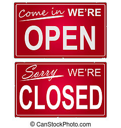 """avbild, av, \""""open\"""", och, \""""closed\"""", affär, signs."""