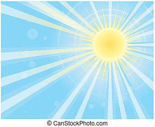 avbild, blå, sol, vektor, stråle, sky.