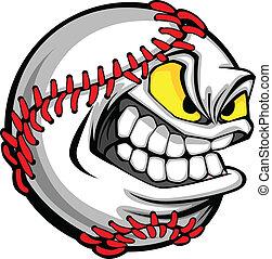 avbild, boll, baseball, tecknad film, ansikte