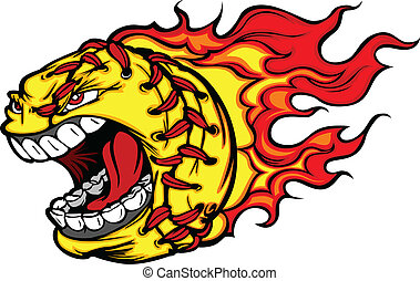 avbild, boll, softboll, skrika, fastpitch, ansikte, vektor, flammor