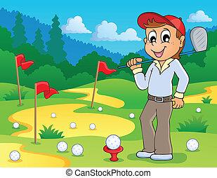 avbild, golf, tema, 3