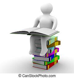 avbild, isolerat, bakgrund., bok, vit, skolpojke, öppna, 3