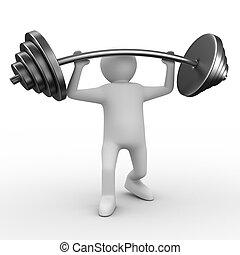avbild, isolerat, barbell, weight-lifter, lyften, white., 3
