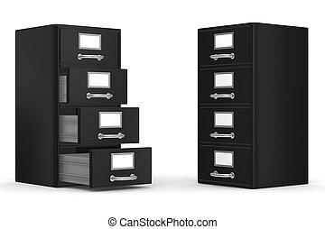 avbild, isolerat, kabinett, white., filning, 3