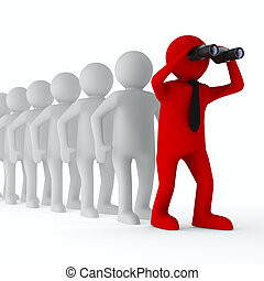 avbild, isolerat, leadership., begreppsmässig, vit, 3