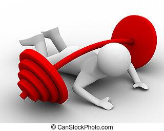 avbild, isolerat, nedåt, weight-lifter, tryck, barbell., 3