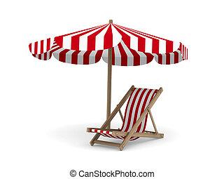avbild, isolerat, parasoll, vit, bakgrund., 3, däcksstol