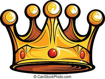 avbild, krona, eller, kunglighet, vektor, görar till kung, tecknad film