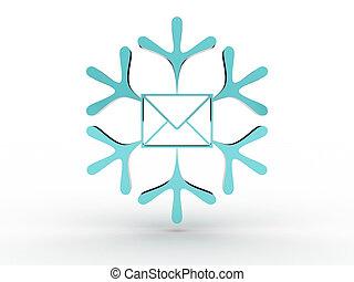 avbild, kuvert, isolerat, bakgrund., vit snöflinga, 3