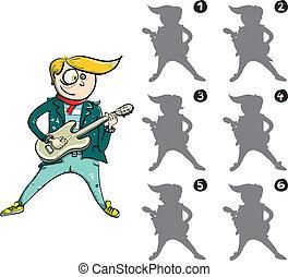 avbild, lek, spegel, gitarrist, visuell
