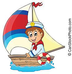 avbild, med, sjöman, tema, 3