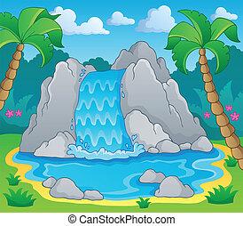 avbild, med, vattenfall, tema, 2