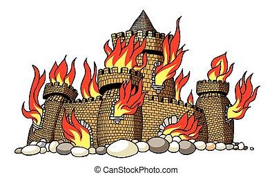 avbild, slott, brännande, tecknad film