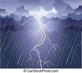 avbild, strike., regn sky, vektor, mörk, blixt
