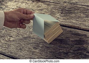 avbild, tak, hus, retro, papper, manlig, trä, miniatyr, täcke, pluggar, gjord, hand, od