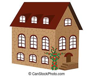 avbild, tegelsten, house., vektor, vacker