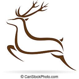 avbild, vektor, hjort