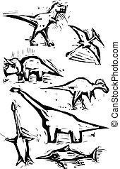 avbildar, dinosaurie, fläck