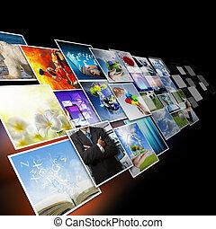 avbildar, kommunikation, visuell, begrepp, strömma