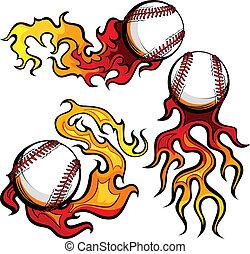 avbildar, vektor, baseboll, flammor