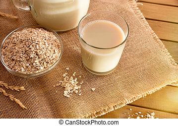 aveia, bebida, e, cereal, flocos, em, naturel, vista