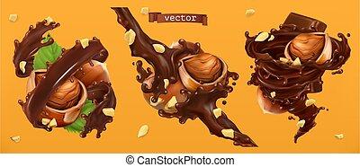 avellanas, y, chocolate, splashes., 3d, realista, vector