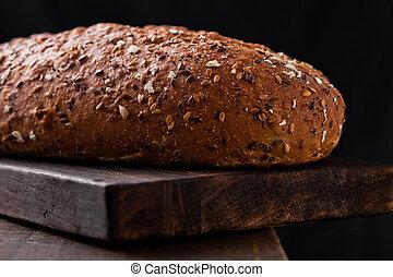 avenas, tablero de madera, recientemente, horneó pan