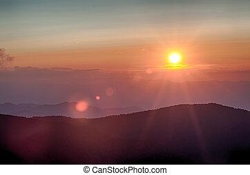 avenida cume azul, outono, pôr do sol, sobre, montanhas appalachian