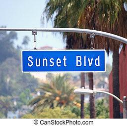 avenida de puesta de sol, señal, en, hollywood, california