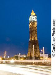 avenida, noche, bourguiba, túnez, nouvelle, torre, áfrica, rayas, coche, ville, túnez, habib, luz, reloj