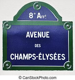 avenida, señal, parís, calle, champs-elysees-elysees, des