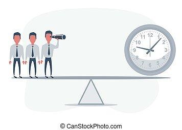 avenir, business, homme affaires, télescope, clock., trends., homme, occasions, seesaw., debout, reussite, utilisation, regarder, devant
