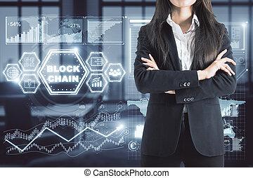 avenir, concept, blockchain
