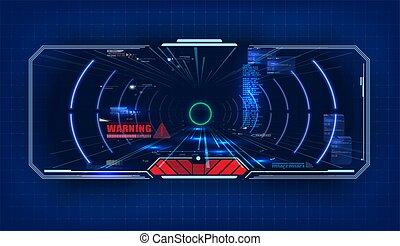 avenir, divertissement, technologie, concept, reality., poste pilotage, spaceship., design., virtuel, futuriste, hud, vue, vecteur, sci-fi, réalité, display., écran, interface