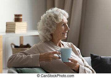 avenir, femme, rêver, tea., calme, tasse, mûrir