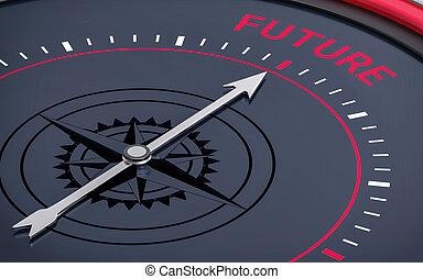 avenir, mot, compass., 3d