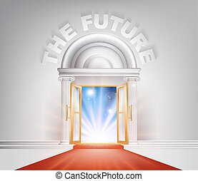 avenir, porte, moquette rouge