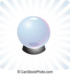 avenir, prédiction, boule quartz, illustration
