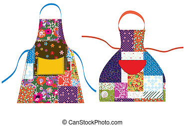 aventais, com, patchwork, desenho, têxtil, jogo