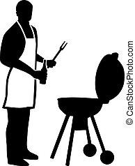 avental, silueta, barbecuing, homem