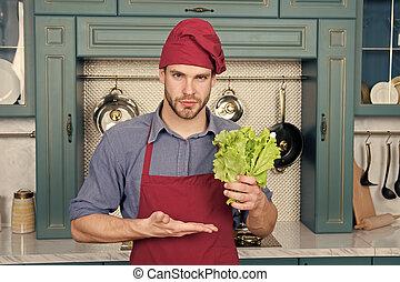 avental, vegetables., vegetariano, cozinhar, receita, kitchen., cozinheiro, desgaste, pico, cozinheiro, fresco, ingredient., principal, legumes, homem