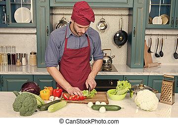 avental, vegetables., vegetariano, cozinhar, receita, recipe., kitchen., cozinheiro, desgaste, pico, cozinheiro, fresco, ingredient., principal, legumes, homem