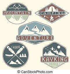 aventura, acampamento, jogo, etiquetas, kayaking, vindima, escalando