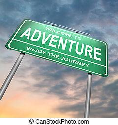 aventura, concept.