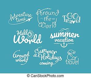 aventura, logotipos, vector, collection., iconos de viajar, clipart